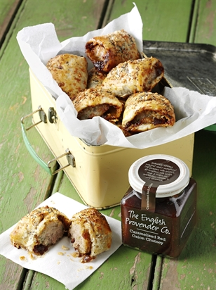 Caramelised Red Onion Chutney & Goats' Cheese Sausage Rolls
